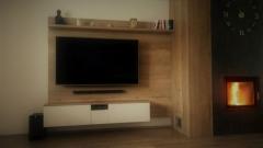 Moderní obývací stěna s krbovým obložením